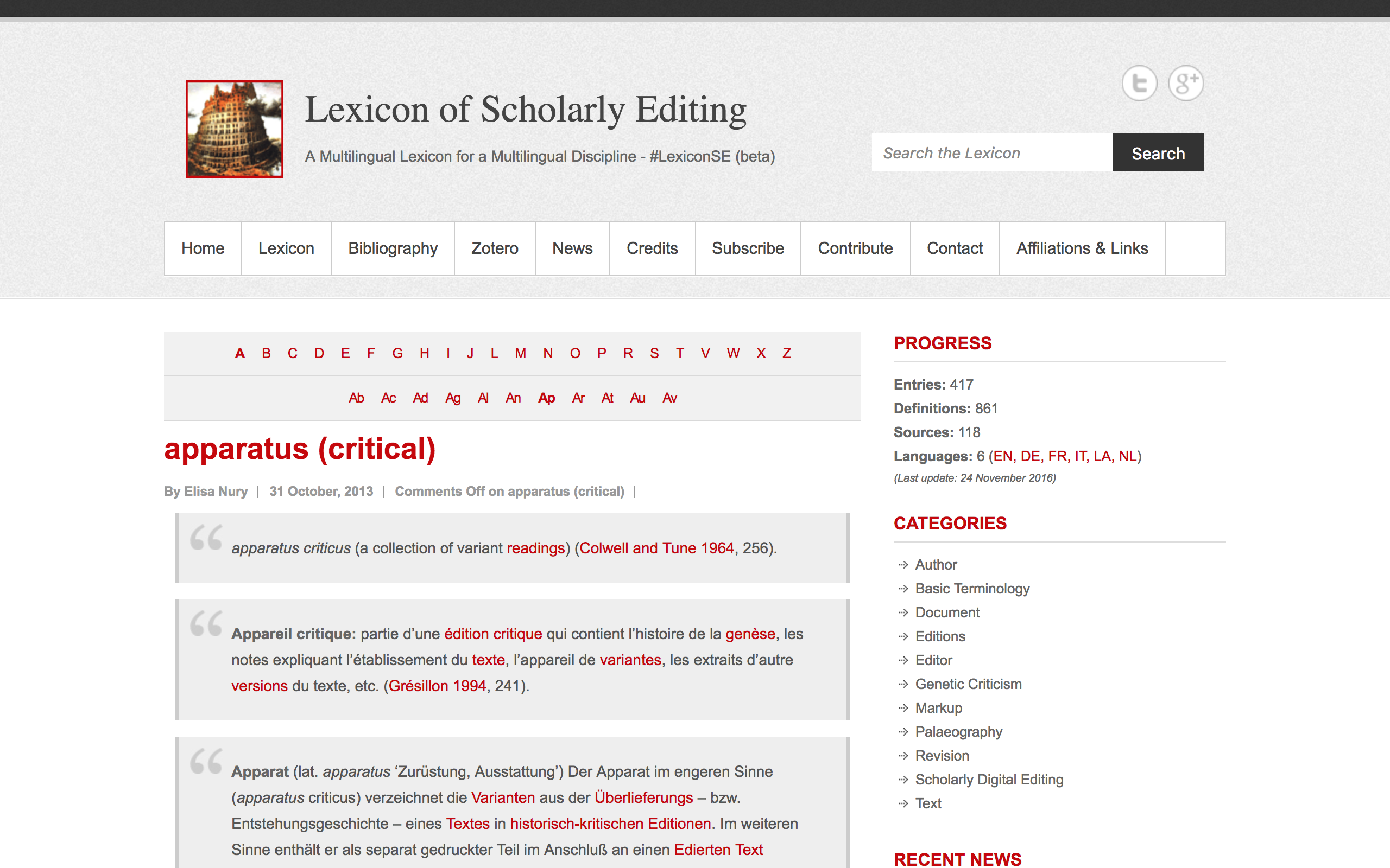 Lexicon of Scholarly Editing