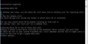 Screenshot of a successful eXist-db installation